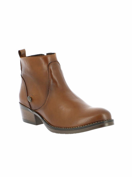 bt00 brown leather Western ankle boot