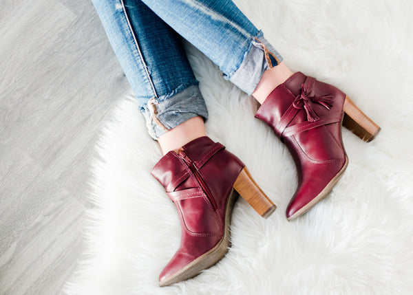 bt00 red leather high ankle boot 38702-2 - galibelle