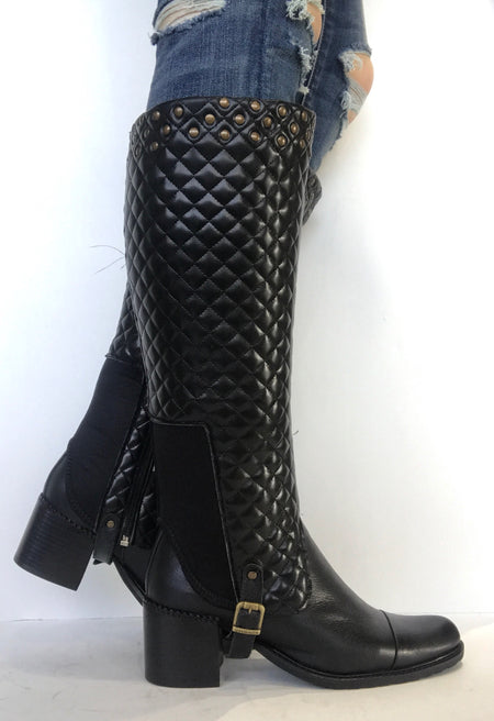 bt00 tall sleeve brown patent with studs