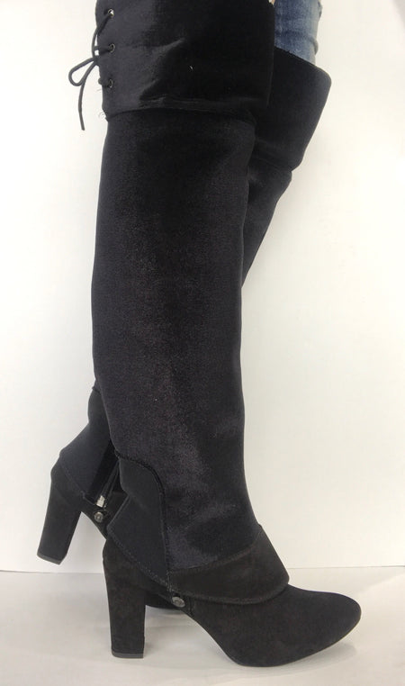 bt00 tall sleeve black faux suede with fringe