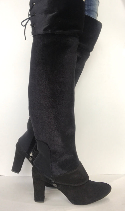 bt00 black with fur flap and lace ankle boot sleeve - galibelle