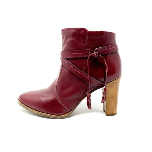 bt00 leather red high ankle boot 38702-2
