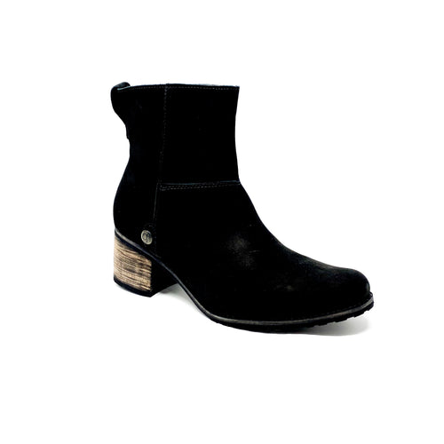 bt00 suede black wooden sole ankle boot