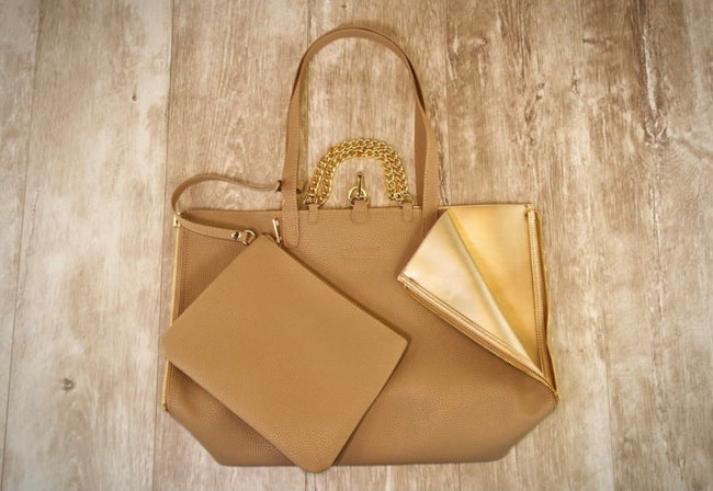 Reversible purse with clutch colors Champagne to Nude