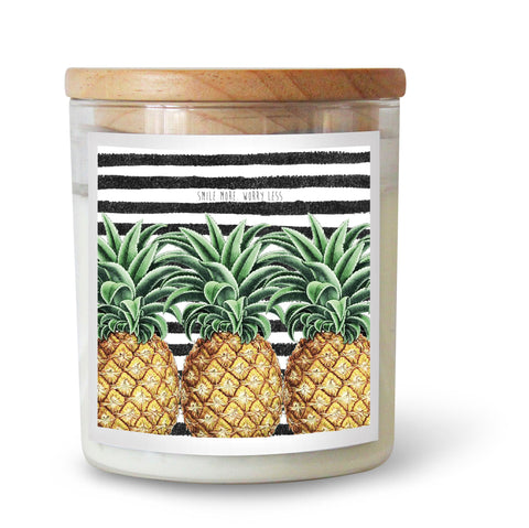 "Ourlieu Collab Pineapples ""Smile More, Worry Less"" Soy Candle"