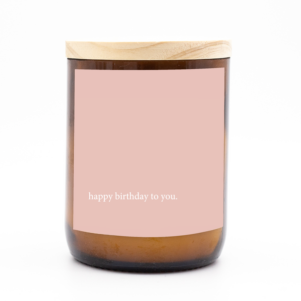 Heartfelt Quote Candle - Happy Birthday Pink