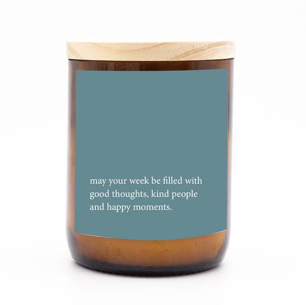 Heartfelt Quote Candle - good, kind, happy.