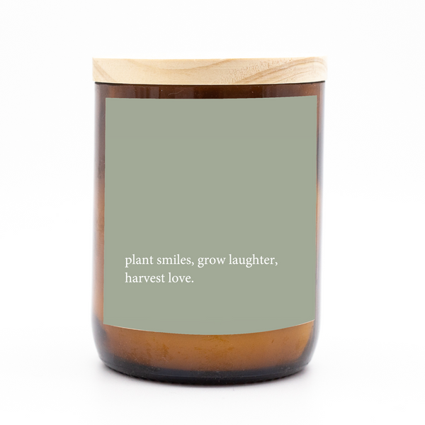 Heartfelt Quote Candle - smiles, laughter, love.