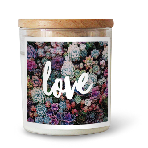 LOVE Soy Candle // Rainbow succulents