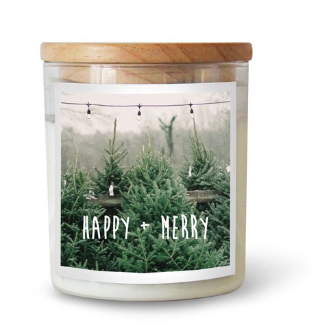Happy + Merry Christmas Candle
