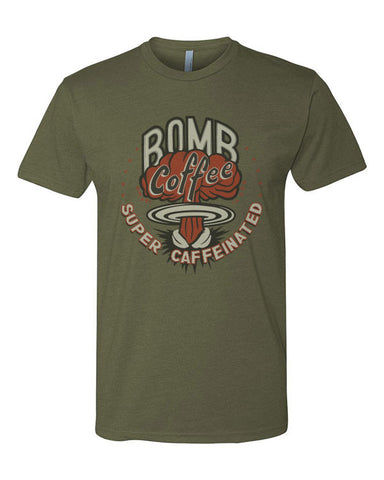"Unisex - Military Green ""BOMB Coffee"" Crew Shirt - BOMB Coffee"