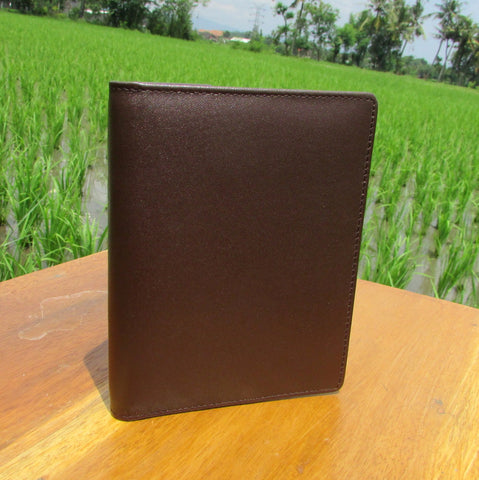 Brown Short Leather Pasport Wallet Cases - DeNesia Handmade Bags