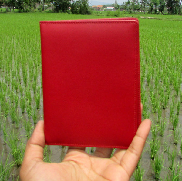 Red Short Travel Leather Wallet and Passport Case - DeNesia Handmade Bags