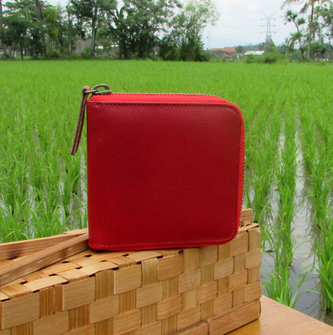 Red Zipped Short Leather Wallet Dompet Kulit Asli Merah - DeNesia Handmade Bags