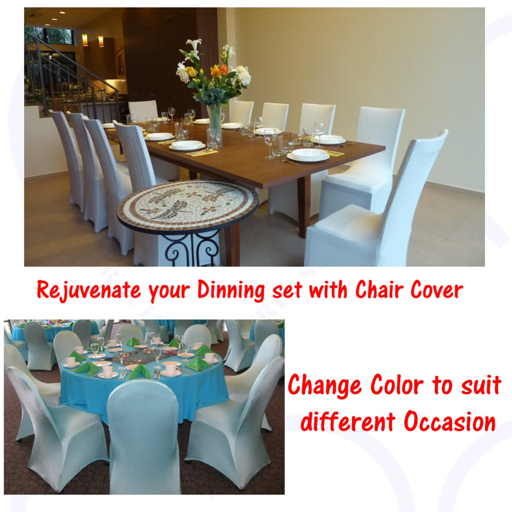 Universal Stretchable Chair Cover Washable and Stretchable to fit Rejuvenate your old dinning chair ive your dinning set a new fresh look. Change Color to suit different Occasion