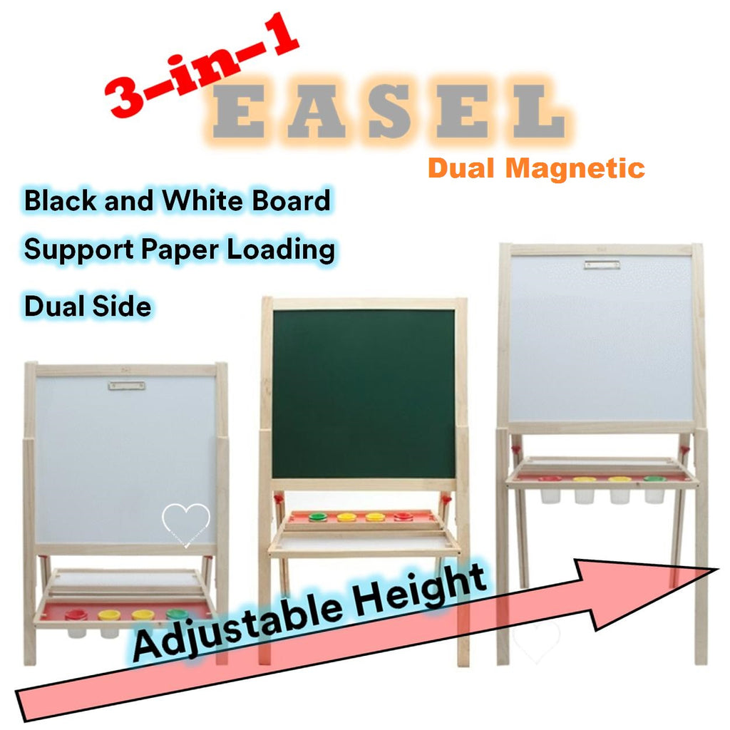 Doubled Sided Blackboard Whiteboard Easel Adjustable Height Great Doubled-Sided Magnetic