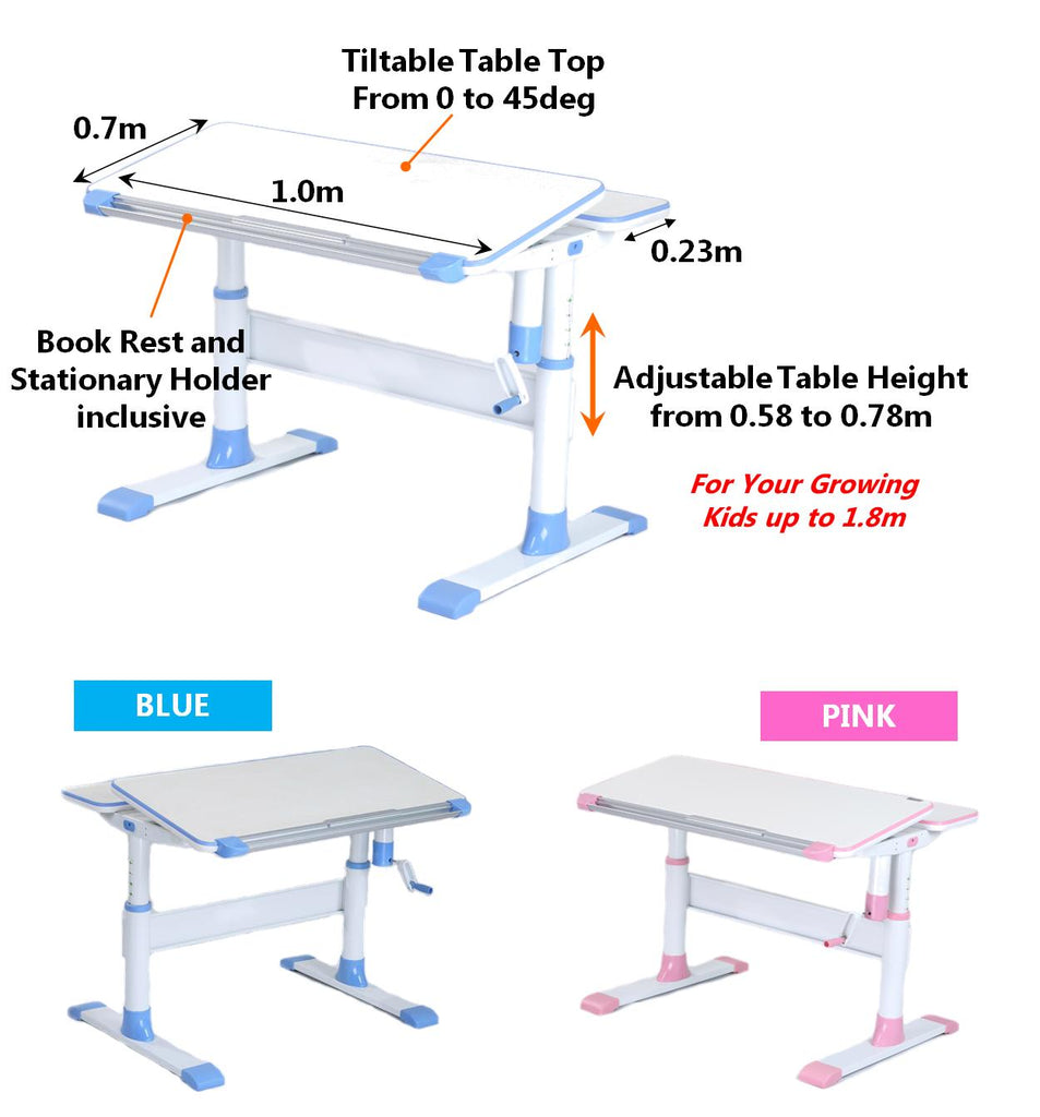 Children Ergonomic Study Table with adjustable height and tiltable table top