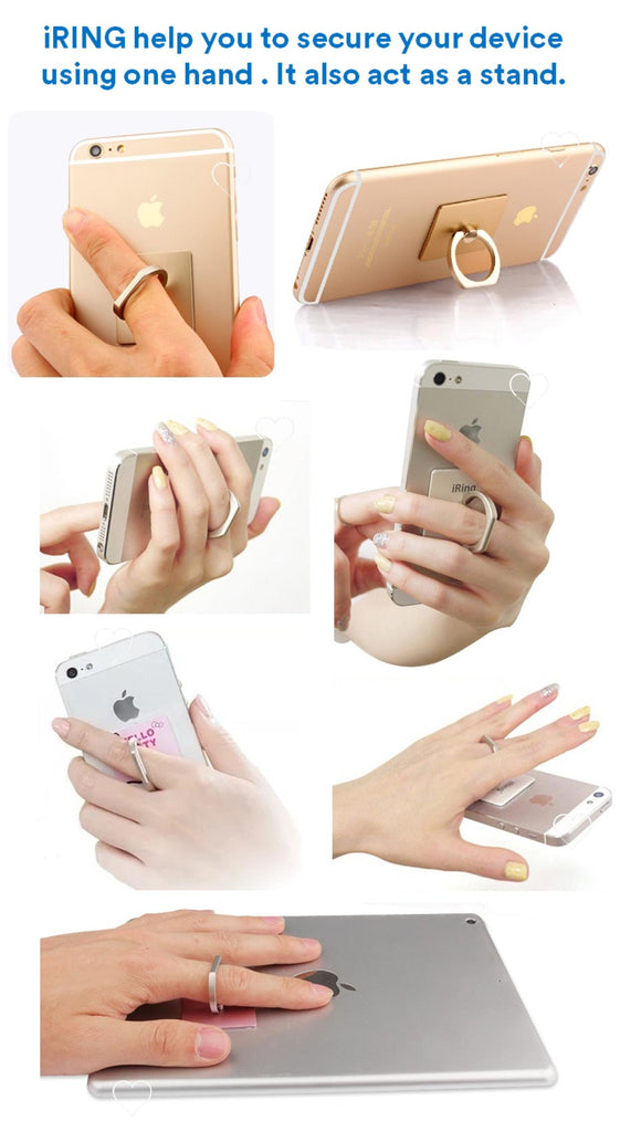 iRing - Your Mobile Phone Holder cum Phone Stand suitable for any phone iPhone , Android, Samsung, XiaoMi, HTC, Oppo, etc. Re-useable Adhesive for long lasting reliability