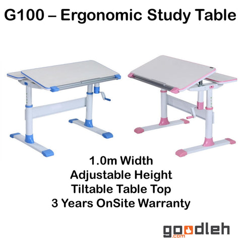 ErgoStudy - G100 - Children Ergonomic Study Table with Adjustable Height