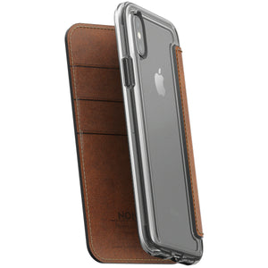 Nomad Horween Leather Clear Wallet Folio for iPhone X