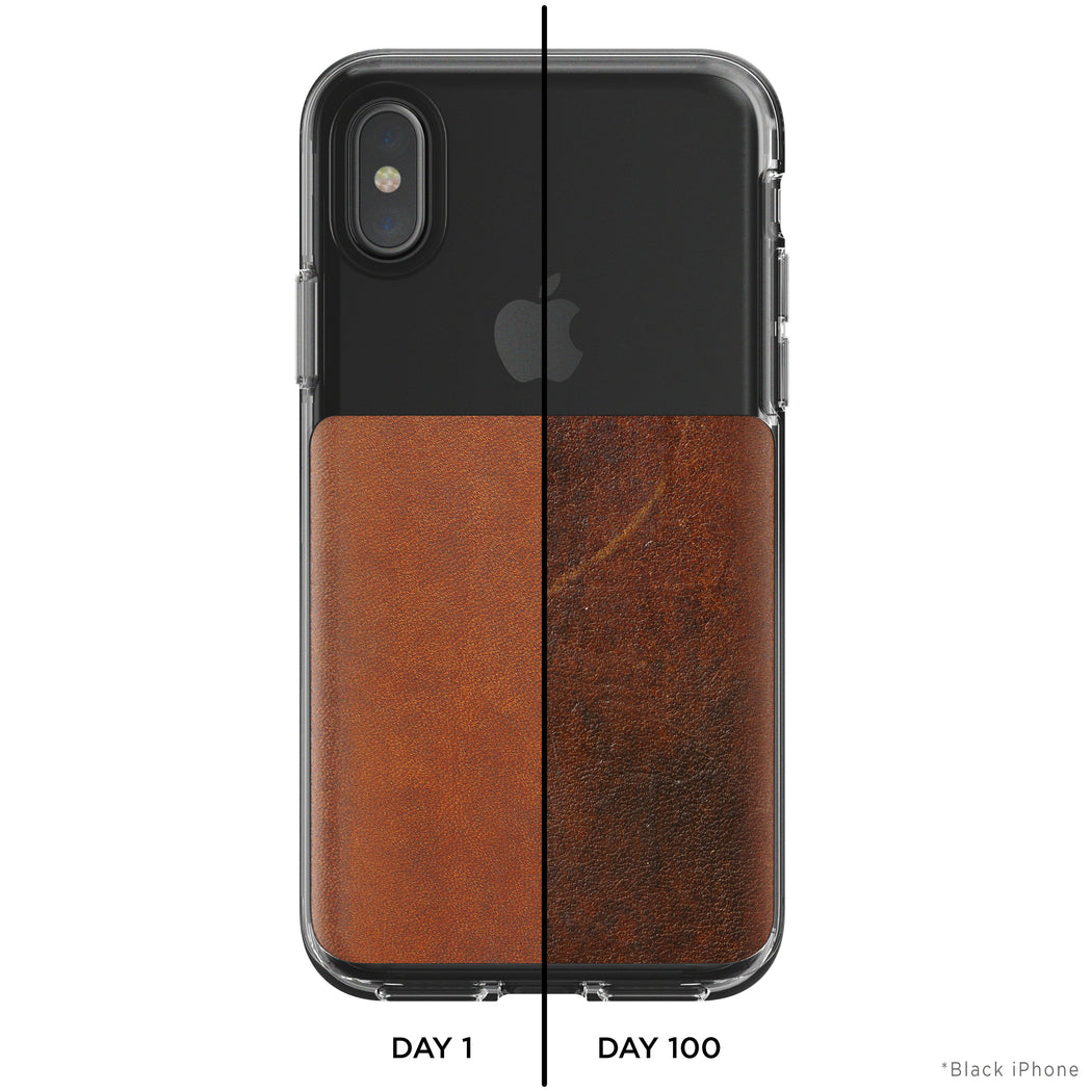 Nomad Horween Leather Clear Case for iPhone X