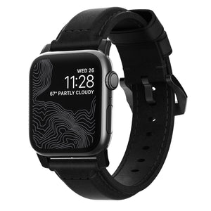 Nomad Traditional Leather Strap for Apple Watch - Black / Black Hardware