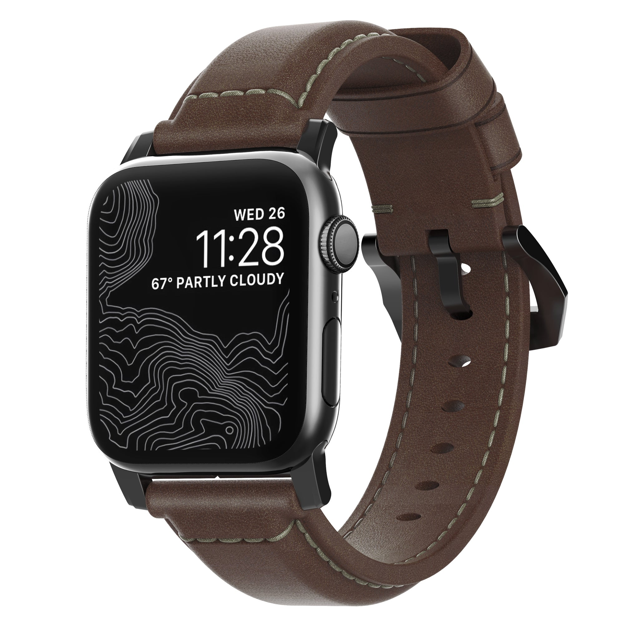Nomad Traditional Leather Strap for Apple Watch - Rustic Brown / Black Hardware