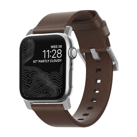 Nomad Modern Leather Strap for Apple Watch - Rustic Brown / Silver Hardware