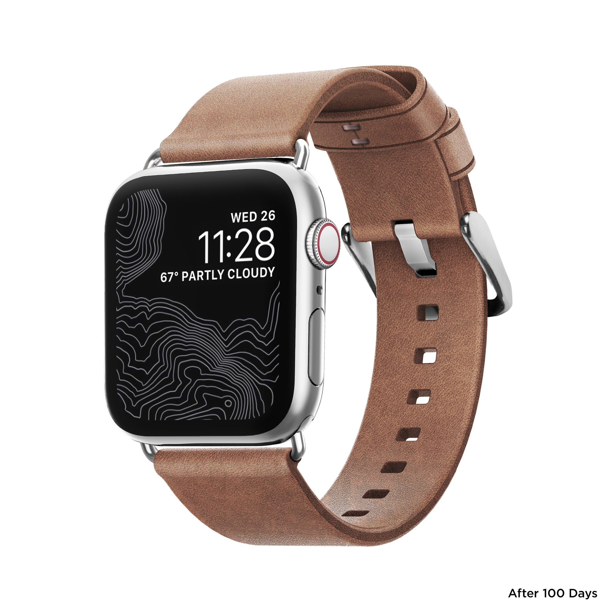 Nomad Modern Leather Strap for Apple Watch - Natural / Silver Hardware