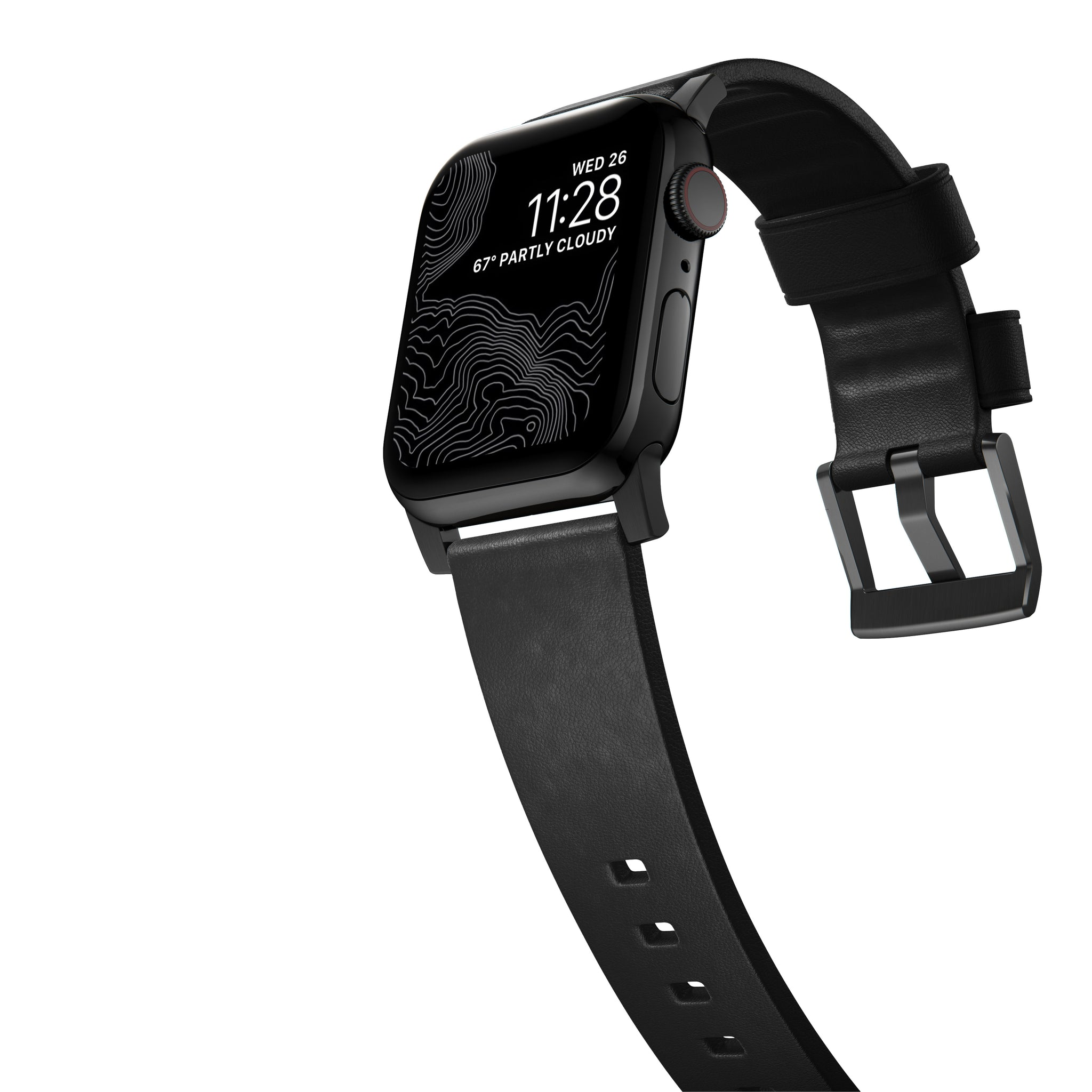 Nomad Active Leather Strap for Apple Watch 44/42mm - Black / Black Hardware