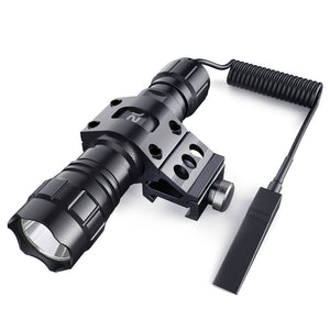 CISNO 1000LM LED Tactical Flashlight Torch Pressure Switch with 1'' Offset Mount