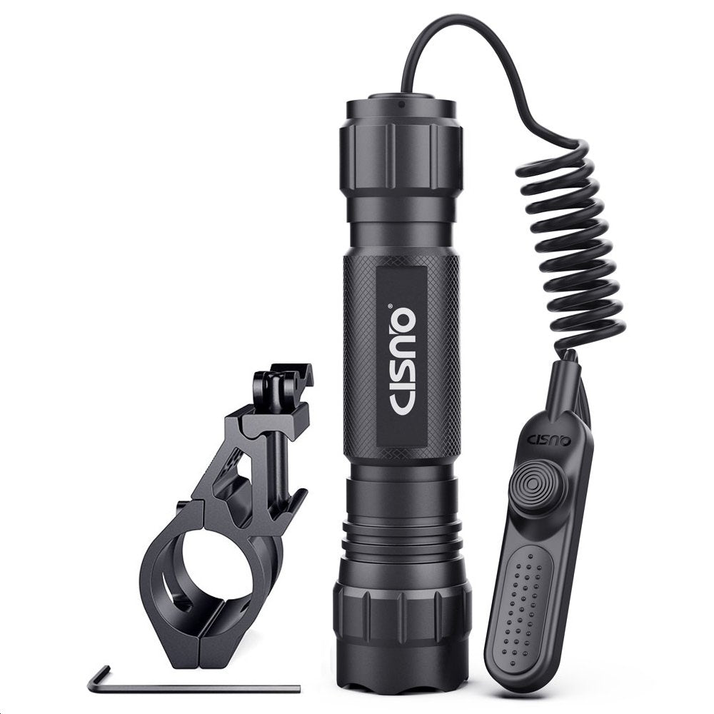 CISNO Quick Release 45° Offset Mount 1000 Lumens L2 LED Tactical Flashlight Torch with Remote Pressure Switch