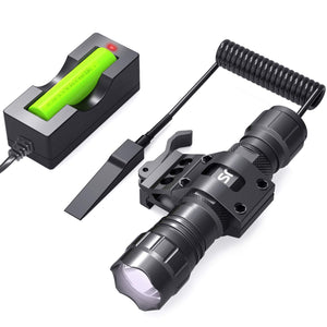 CISNO Tactical Flashlight L2 LED 1000 Lumen with Quick Release Offset Mount Pressure Switch, Battery and Charger Included