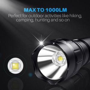 CISNO 1000 LM Tactical Flashlight with Mount and Pressure Switch