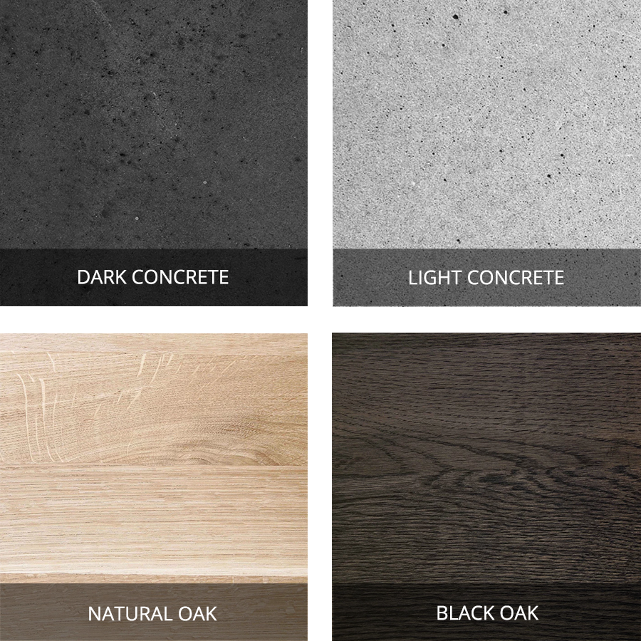 Eberhart Furniture - Concrete and Oak Finish Swatches