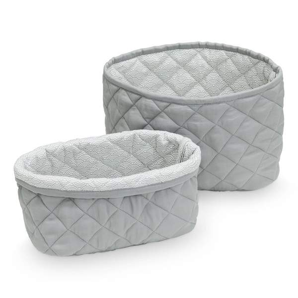Quilted Storage Baskets, Set of Two