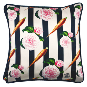 Carrots and Roses Silk Cushion | Urban Avenue