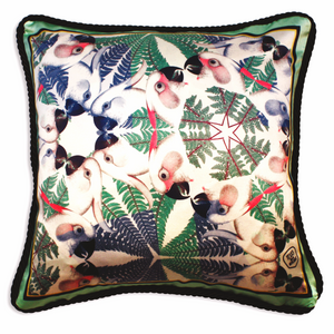 Parrots Silk Cushion | Urban Avenue