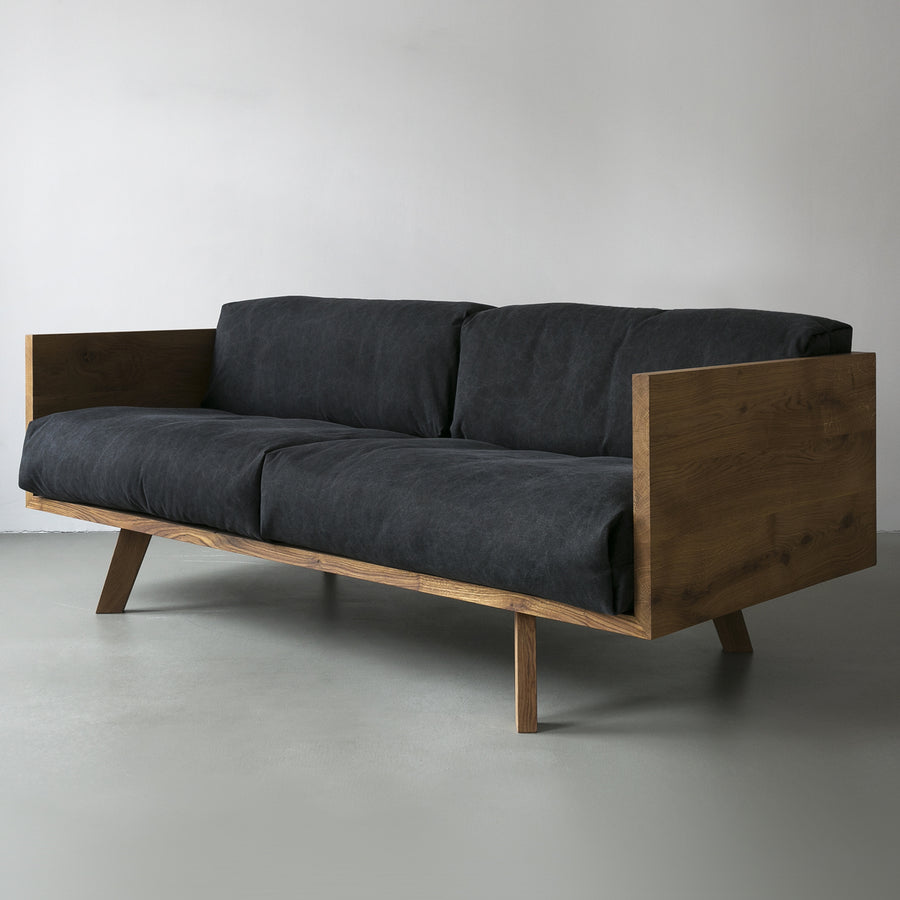 Oak and Linen Sofa