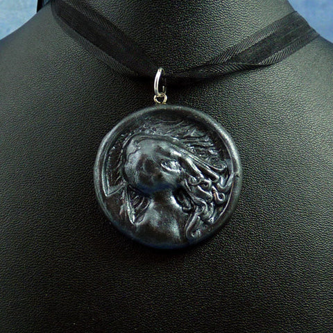 Antique Silver Cthulhu Cameo Necklace with Ribbon
