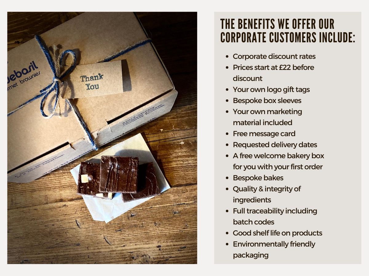 Beautifully packed brownie gift boxes and Christmas hamper All Vegetarian Vegan and other dietary requirements available Delivery dates of your choice Personal message cards included Inexpensive corporate branding options Good shelf life on products Environmentally friendly packaging