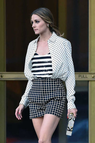 Olivia Palermo with mixed prints.