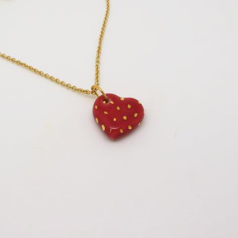 Heart Polka Dot Gold Necklace WS