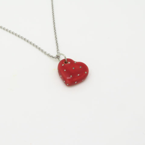 Heart Silver Polka Dot Necklace WS