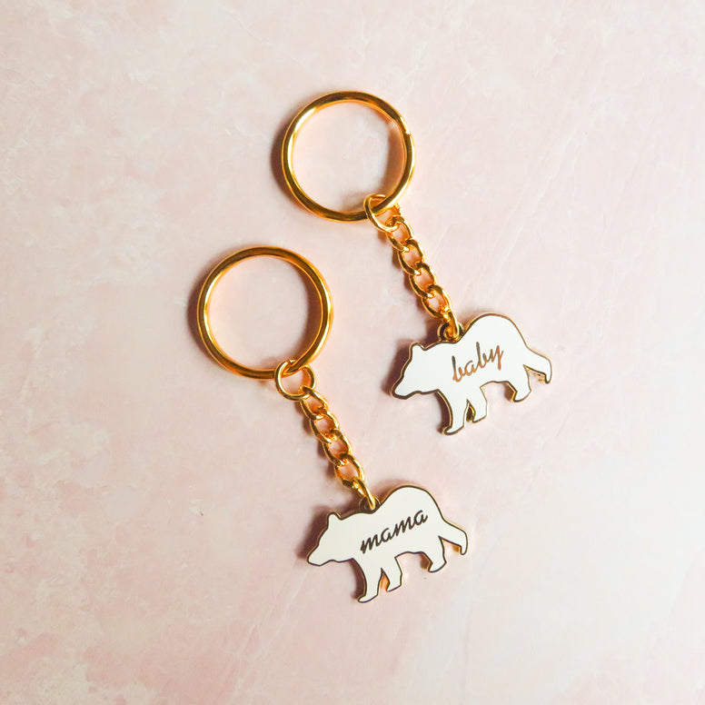 Enamel Mommy and Me Keychain Set
