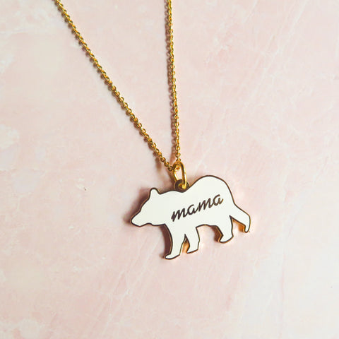 Enamel Mama Bear Necklace