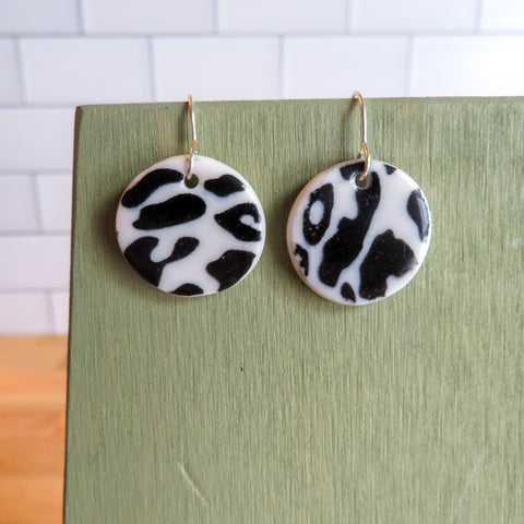 Black Leopard Print Earrings