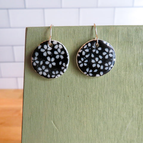 Floral Meadow Earrings in Black