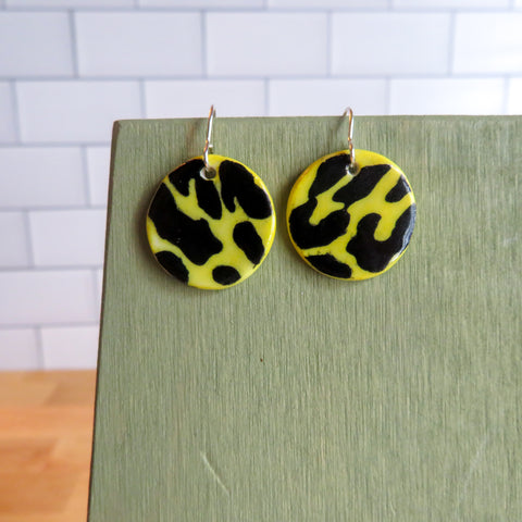 Black Leopard Print Earrings in Yellow