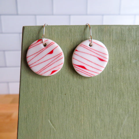 Simple Lines Earrings in Red